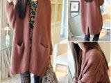 2014秋季韩版蝙蝠袖加厚长款毛衣外套女开衫粗线宽松披肩针织衫