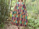 实拍2015春季新款大码女装麻棉文艺范波西米亚长连衣裙