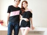 新款情侣装夏装 韩版新款圆领t恤衫撞色修身连衣裙长款好质量