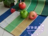 蓝绿格地垫/门垫/地毯/全棉手工编织地毯45*70  厂家直销