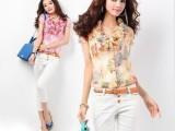 2014韩版新款夏装荷叶领印花短袖 雪纺衫百搭衬衫女雪纺短袖T恤