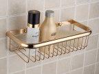 厂家批发 全铜欧式金色 四方网篮 单层浴室置物架 收纳篮 超低价