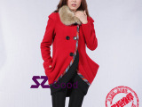 szgood2013冬季新款民族风女装毛呢外套加厚红色呢子大衣毛
