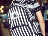 休闲2014日系小清新条纹男士双肩包背白情侣背包拉链时尚学生书包
