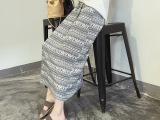 欧嫦 2015韩版夏季新品大码女装  条纹印花简约宽松半身长裙女