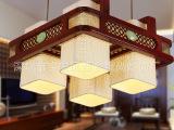 中式吊灯批发客厅书房餐厅茶楼吸顶灯简约羊皮古典实木灯具现 代