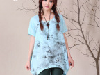 TAB 2015春季新款棉麻女装 外贸大码水墨印花亚麻衬衣女式衬衫
