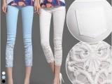 大码OL蕾丝钩花镶钻薄夏款白色外穿打底七八分小脚裤九分裤女裤子