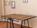 定做北欧复古风格实木带轮子铁艺茶几带抽屉沙发会议洽