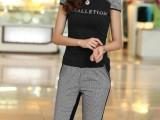 2014夏季新款女套装   韩版流行千鸟格T恤+裤套装   女式