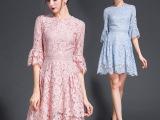 2016新款中袖刺绣裙欧美连衣裙一件代发