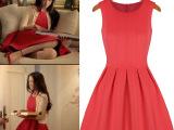 4061 汤唯德芙广告明星同款太空棉连衣裙新款欧美品牌红色连衣裙