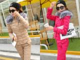 韩版冬季羽绒棉服时尚韩范休闲保暖大毛领加厚羽绒服套装女款