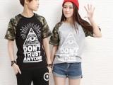 个性字母印花迷彩情侣装短袖T恤韩国代购韩版男女闺蜜装X4023