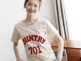 供应2014韩版女装短袖T恤 夏季新款个性字母圆领女式上衣t恤批