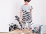 童装 2014夏款韩版童套装运动休闲儿童条纹短袖+哈伦裤套装