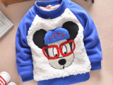 一件代发 2014新款宝宝冬装绒毛毛衣潮男童韩版加绒加厚T恤童装