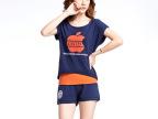 夏季新品 短袖苹果印花女款韩版短裤运动服休闲三件套装夏装