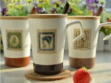 新款zakka杯子复古邮票马克杯 创意陶瓷杯咖啡牛奶杯茶杯带盖勺