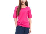 夏季女款纯色圆领纯棉修身打底衫中袖t恤潮