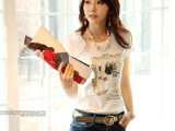 2014韩国夏装短袖t恤OL淑女职业圆领烫钻百搭新款百搭闺蜜女上