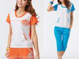 2014夏品牌休闲运动套装女装V领带帽卫衣两件套运动服饰厂家直批