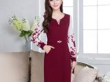 新款中老年女装裙子大码中年妈妈装秋装连衣裙中长款40-50岁长袖