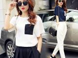 欧洲站时尚套装女春夏装2015新款韩版雪纺短袖哈伦裤两件套潮