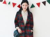 14秋冬新款韩国东大门中长款复古羊毛格子毛呢大衣宽松外套女风衣