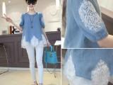 2014夏季韩版新款镶钻蕾丝假两件上衣圆领短袖大码女装女牛仔衬衫