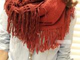 秋冬季围巾厂家批发 韩国拼色撞色毛线流苏围脖 套头围巾保暖100