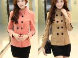2014秋冬韩版双排扣外套毛呢外套呢大衣短款呢子大衣