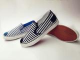 秋季条纹懒人鞋休闲时尚学生帆布鞋女鞋松糕跟平底鞋