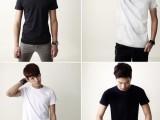 夏装新款 韩版修身纯色纯棉短袖t恤 男式圆领短袖打底衫 男
