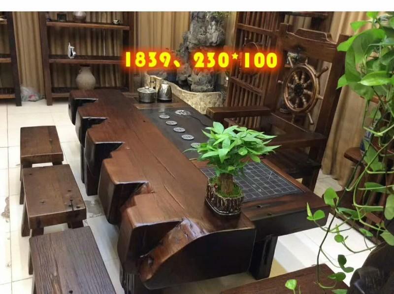 老船木茶桌 新款圆棍桌椅组合中山船木家具工厂定做