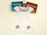 外贸童装 韩版白色蕾丝女童连衣裙刺绣花朵短袖连衣裙 童裙批发