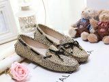 厂家直销欧美新款细点豹纹马毛豆豆鞋女真皮平底鞋驾车鞋孕妇鞋