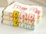 新款 厂家直销批发 纯棉割绒印花包边卡通小猪小熊小兔 儿童毛巾