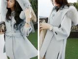 韩国东大门 秋冬新款超大毛领外套女装中长款斗篷韩版毛呢大衣