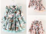 零售韩版秋冬季女童外套儿童纯棉碎花两件套连衣裙风衣女童外套