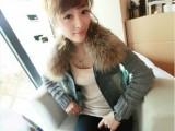 新款 韩版休闲长袖女短外套 毛领毛线袖子牛仔上衣