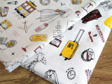 厂家批发手工棉麻印花麻布 窗帘桌布布料 旅行风格工艺品用布