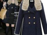 【镇店之宝】正品2013秋冬韩版女装真兔毛领修身加棉军装大衣