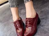 2014女鞋漆皮复古英伦风女式尖头粗跟中跟鞋深口绑带单鞋厂家批发