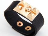 速卖通ebay热销 欧美原单时尚金属个性夸张铆钉气质皮质手链首饰
