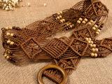 波西米亚风 蜡绳全手工编织女士腰带,女 编织带 民族风 裙带 0