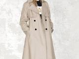 现货女式风衣女外套修身韩版女装2015冬季新款双排扣风衣女中长款