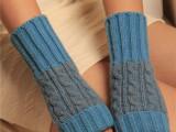 混织麻花保暖露指手套 女士加长护腕羊毛针织半指毛线手套