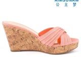 广东厂家批发 夏季新款高跟凉拖鞋 坡跟仿