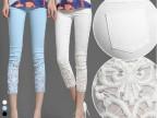 2014女裤蕾丝钩花镶钻薄夏白色外穿九分小脚裤打底八分七分裤
